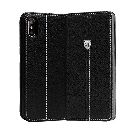 Viwaro kompatibel mit Samsung Galaxy S7   X&d Echt Leder Handyhülle Schutzhülle Book Wallet Hülle Cover Hülle Bumper Handytasche (Schwarz)