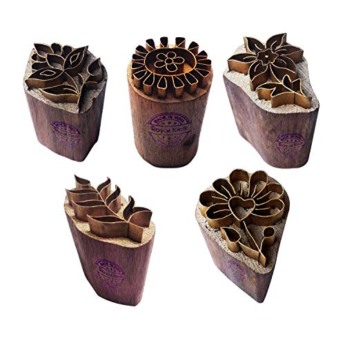 Royal Kraft Floral Brass Wooden Printing Stamps (Set of 5) - DIY Fabric, Clay, Pottery Blocks BHtag0002