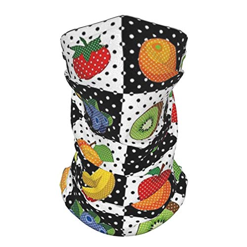 Sombrero Al Aire Libre De Seda Diadema Negro Y Blanco Decoración De Cocina Frutas Verduras Naturaleza Con Puntos Cuadrados Ajedrez Diseño De Arte Multicolor Reutilizable Cuello Polaina Cara Bufanda