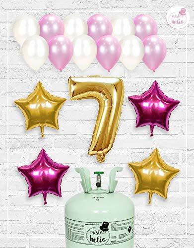 Bombona de Helio Mrhelio+Globos cumpleaños Niña números (Cumple niña 7 años)