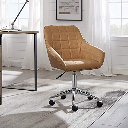 Volans Cute Desk Chair, Modern Simple Mid-Back Leather Swivel Home Office Task Chair with Arms and Adjustable Height for Small Spaces Home Office Living Room Bedroom, Khaki