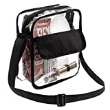 Bags For Less Clear Messenger Beg Stadium Approved Crossbody Purse Clear Lunch Box Adjustable Strap, Easy to Clean and Water Resistant Tote Bag Great for Men, Women, Kids (Crossbody Purse Bag)