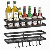 Estante cocina sin taladro,mreechan estante de cocina organizador,estante cocina metal para Utensilios de Cocina con 8 Ganchos extraíbles,Barra para Cocina,Pasillo,baño, etc.