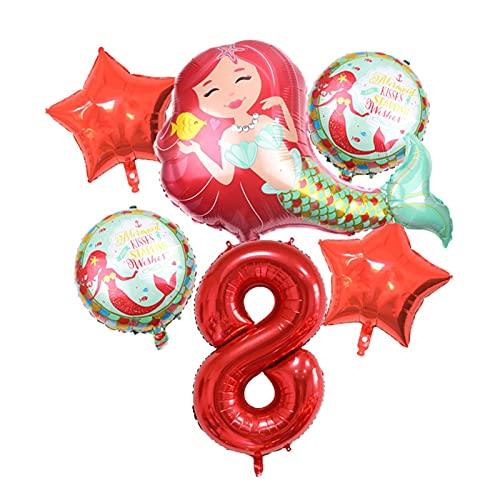 XIAOZSM Globos Globos de lámina de sirpea púrpura roja con número de dígitos de 40 Pulgadas Helio Globo Dibujos Animados Globos Decoraciones de Fiesta de cumpleaños niños o Adultos ( Farbe : Red 8 )