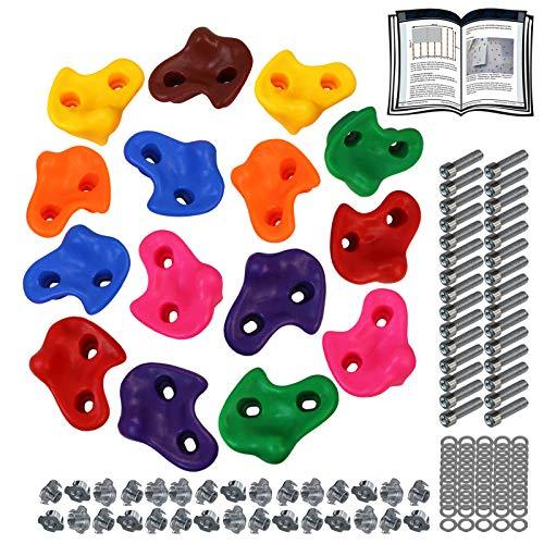 ALPIDEX Kinder Klettergriffe Klettersteine , belastbar bis 200 kg , inklusive Befestigungsmaterial, Verschiedene Stückzahlen bunt - 15 Stück