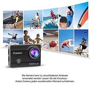 """Crosstour Action Sport Cam Wifi 12MP Full HD Unterwasserkamera 2"""" LCD 170° Weitwinkelobjektiv Helmkamera mit 2 Akkus 1050mAh und Zubehör Kits"""
