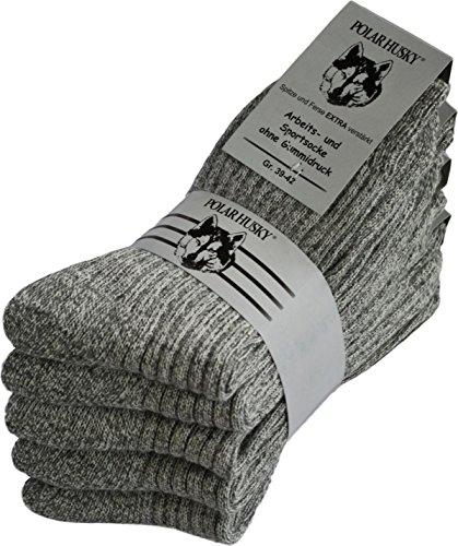 Polar Husky® 5 Paar Arbeitssocken mit Plüschsohle Farbe Graumeliert Größe 43/46
