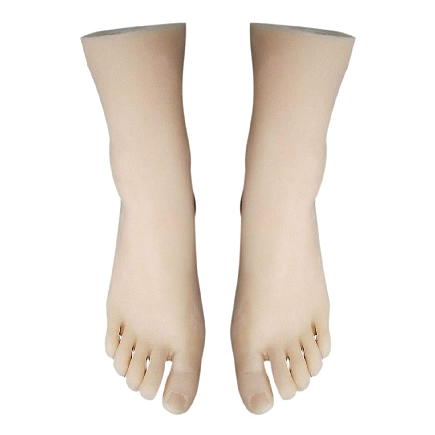 Flameer 1 Pair Flexible Foot Mannequin Life-Size Female Leg Display Model for Sketch Nail Art Tattoo Fake Skin Feet Practice Jewelry Sandal Shoe Sock