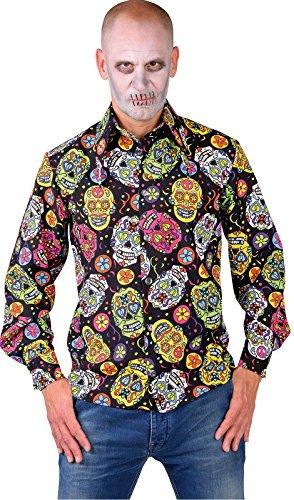narrenkiste M217294-220-XXL Mexican Skull Herren Hemd-Bluse Tag der Toten Gr.XXL