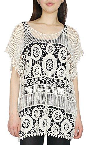 Damen Netz Shirt Tunika mit Häkel-Motive - One Size Gr. 38-42 - WJ047