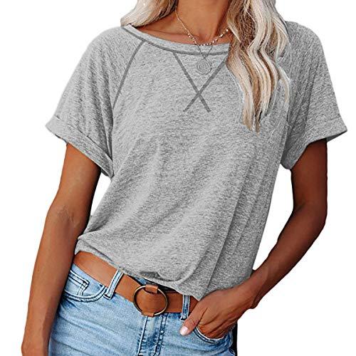meybecci Damen Sweatshirt Casual Rundhals Kurzarm T-Shirts Pullover Top mit Seitliche Split L Grau