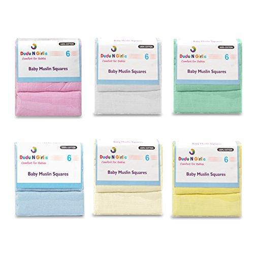 Dudu N Girlie 100% algodón bebé pañuelos cuadrados de muselina, 72cm x 72cm, 6unidades, azul/blanco