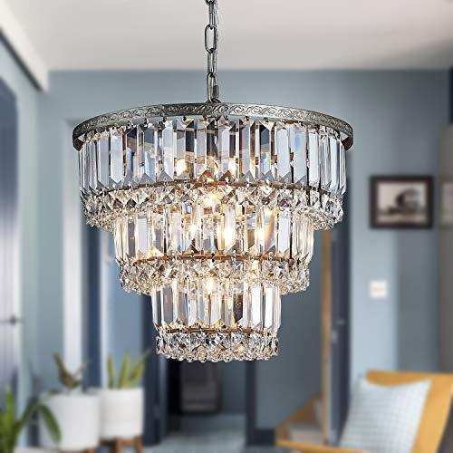 Saint Mossi Chandelier Modern K9 Crystal Raindrop Chandelier Lighting Flush Mount LED Ceiling Light Fixture Pendant Lamp for Dining Room Bathroom Bedroom Livingroom 5 G9 Bulbs Required H12' X D14'