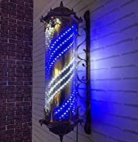 90cm理髪店ポールランプ防水回転赤白青LEDストリップ回転美容院ライトサインウォールランプヨーロピアンレトロブライトカラー屋外ウォールランプ