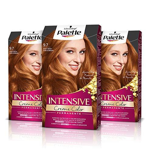 Schwarzkopf Palette Intensive - Tinte 9.7 cabello Rubio Cobrizo – Perfecta cobertura de canas – Coloración Permanente de Cuidado con Aceite de Marula - Color duradero hasta 8 semanas (Pack de 3)