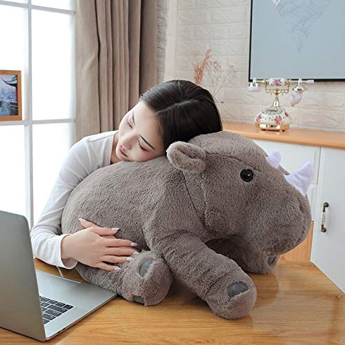 N / A Rhinoceros Plush Toy Stuffed Rhinoceros Animals nap Hug Pillow Soft Thow Pillow TV Cushion Message Pillow for Her birth about 40cm
