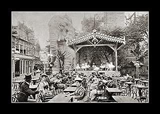 8 x 10 All Wood Framed Photo Moulin-Rouge-Paris-1900-Elephant-Garden