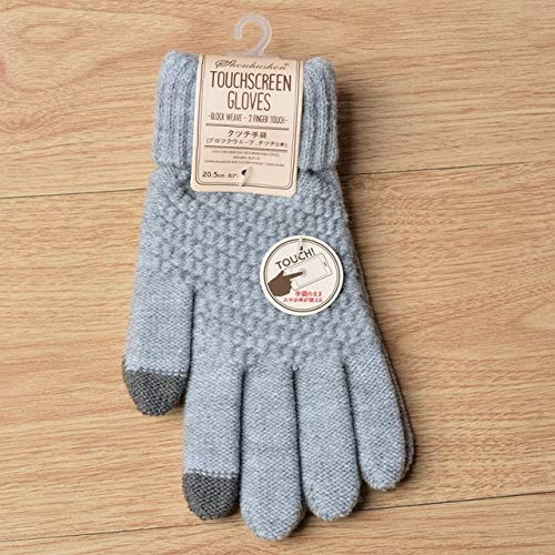 Women's Knitted Gloves Winter Warm thick touch screen gloves Solid Mittens for Mobile Phone Tablet Pad-Gray