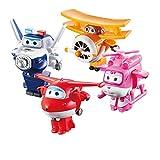 LUNE Super Wings Transform-A-Bots Paquete de 4 | Jett Dizzy Paul and Grand Albert | Figuras de Juguete | Figuras de 2 Pulgadas Robot De Deformación Aeronave Coche Navidad Cumpleaños Año