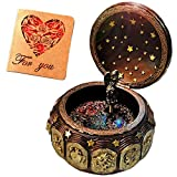 Vintage Music Box with 12 Constellations Rotating Goddess LED lights Twinkling Resin Carved Mechanism Musical Box with Sankyo 18-Note Wind Up Signs of the Zodiac Gift For Birthday Christmas (Vintage)