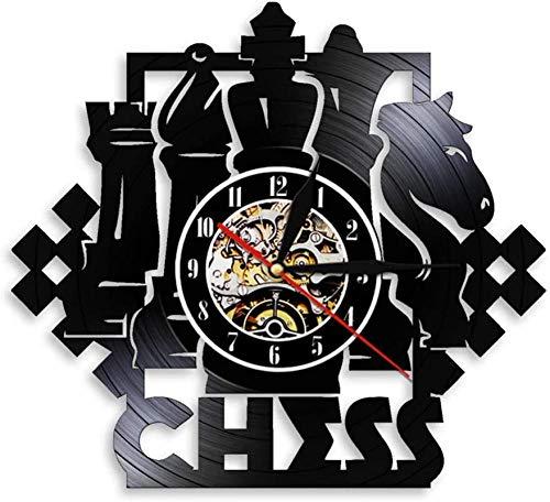 wttian Schachbrett schwarz Schachfiguren strategischer Spieler Schach Schallplatte Uhr Schachliebhaber Geschenk-Without_Led
