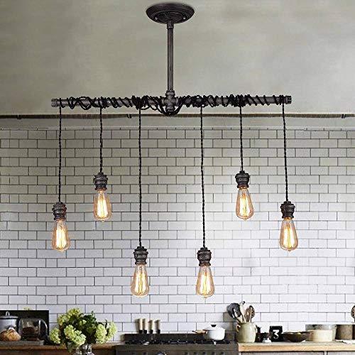 Jiuzhuo, lampadario in stile industriale, in metallo spazzolato nero, lampadario a sospensione, per 6 lampadine vintage