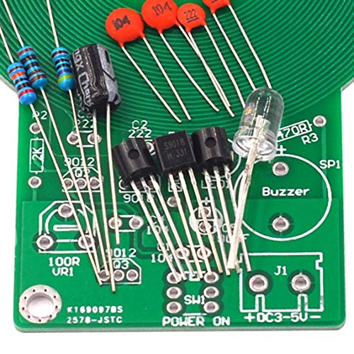 Lötübungs-Set Metalldetektor, elektronisches Teil, erzeugt Sound und Licht nach Erkennung elektronischer Detektor-Set, Schwarz