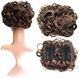SWACC Short Messy Curly Dish Hair Bun Extension Easy Stretch hair Combs Clip in Ponytail Extension Scrunchie Chignon Tray Ponytail Hairpieces (Medium Ash Brown-8#)