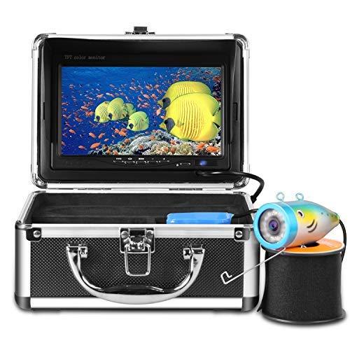 """HBUDS Ecoscandaglio Videocamera Professionale da Pesca Subacquea Monitor 7""""TFT LCD a Colori 700tvl CCD, 15M Lunghezza del Cavo, Videocamera da Lenza Divertente per osservare Quando i Pesci abboccano"""