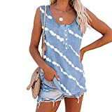 OutTop Women's Summer Tank Tops Trendy Button Down Stripe Sleeveless Shirts Comfy Crewneck Cotton Tees Tunic Top Blouse (Light Blue, XL)