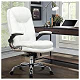 YAMASORO Ergonomic Executive Office Chair White High Back Leather Computer Chair,Office Desk Chair with Arms and Wheels