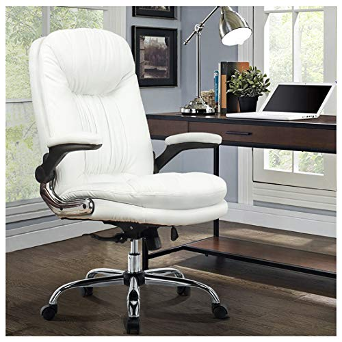 YAMASORO Ergonomic Executive Office Chair White High Back Leather Computer Chair,Office Desk Chair with arms and Wheels, Swivel for Women, Men