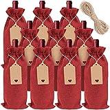 Cisolen 10 piezas Bolsas de Regalo de Vino con Cordón Bolsas de Vino de Yute Reutilizable con Etiquetas y Cuerdas, para Fiestas Cumpleaños Bodas Viajes Inauguración de Casa