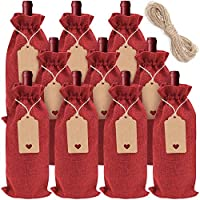 n+a 10 borse regalo per bottiglie di vino sacchetti di iuta per bottiglie di vino riutilizzabili con etichette coulisse per feste compleanni matrimoni viaggi inaugurazione della casa