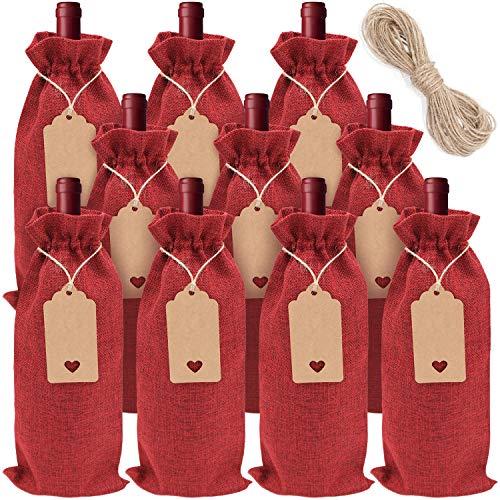 10 piezas Bolsas de Regalo de Vino con Cordón Bolsas de Vino de Yute Reutilizable con Etiquetas y Cuerdas, para Fiestas Cumpleaños Bodas Viajes Inauguración de Casa
