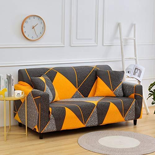 WXQY Combinación de Funda de sofá elástica con patrón geométrico, Esquina en Forma de L, Funda de sofá Antideslizante Envuelta herméticamente, combinación A2 de 3 plazas