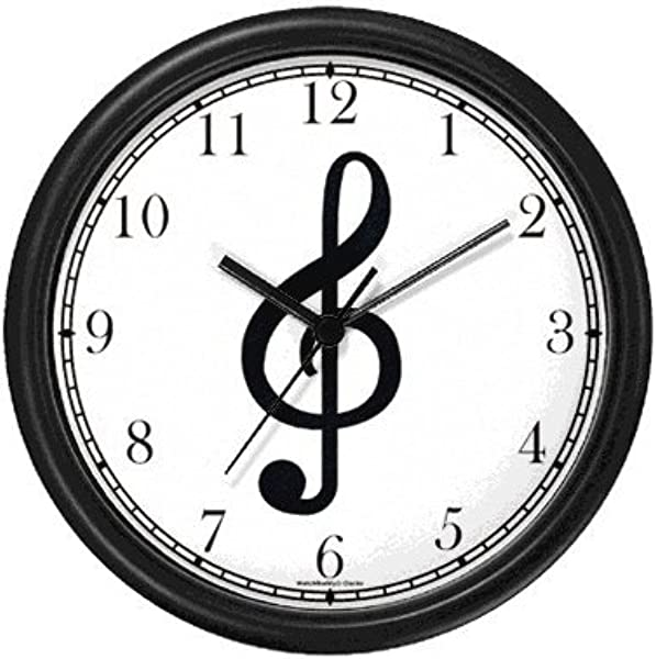 Treble Clef Musical Or Music Theme Wall Clock By WatchBuddy Timepieces Black Frame