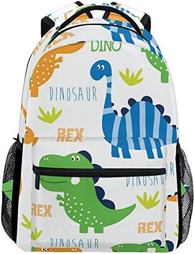 MODORSAN Mochila escolar informal con patrón de dinosaurios de dibujos animados, mochila de viaje ligera, bolso de hombro universitario para mujeres, niñas y adolescentes