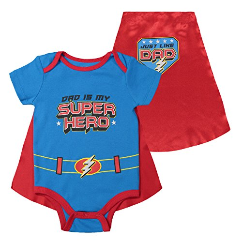 Funstuff Father's Day Super Hero Dad Infant Baby Boys' Bodysuit & Cape, Blue (0-3 Months)