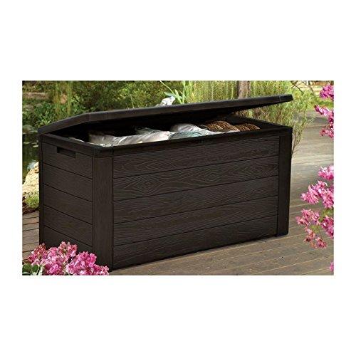 Tood–Baúl de almacenaje hecho de resina–300l–color marrón aspecto madera–120x 46x 58cm