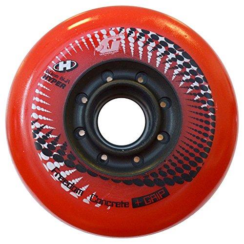 HYPER - Concrete +G LTD (Limited Edition) Inliner Rollen für Skates, Ersatzrollen für alle gängigen Inliner-Marken, 4er-Pack, Rot/Schwarz