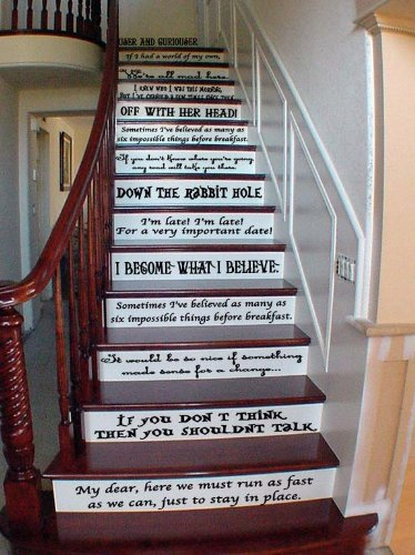Alice in Wonderland Story Book Quote Set Vinyl Stair or Wall Decals [Black] by GMDdecals 24 x 2-4 per Quote Cheshire Mad Hatter Storybook D