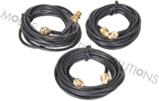 3 Pack of 2m/6' RPSMA RP-SMA Male to Female Extension Cable Works with Wifi and Bluetooth 2.4Ghz or 5.8Ghz ASUS PCE-AC66 AC1750 RT-N16 RT-AC66U RT-N66U RT-N66R RT-AC66R D-Link N300 DIR-655 DIR-665 DGL-4500 DIR-835 TP-Link TL-WDR4300 TL-AC1750 TL-WR1043ND TL-WR2543ND TL-WR940N TL-WR941ND Buffalo WRZ-HP-G450H N450 Trendnet TEW-639GR TEW-692GR TEW-691GR Belkin F5D8231-4 N1 or any Other Router or Mini PCIE Card That Uses 3x RP-SMA Antennas