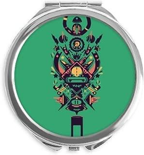 Scary Black Indian Human Skeleton Tattoo Mirror Round Portable Hand Pocket Makeup