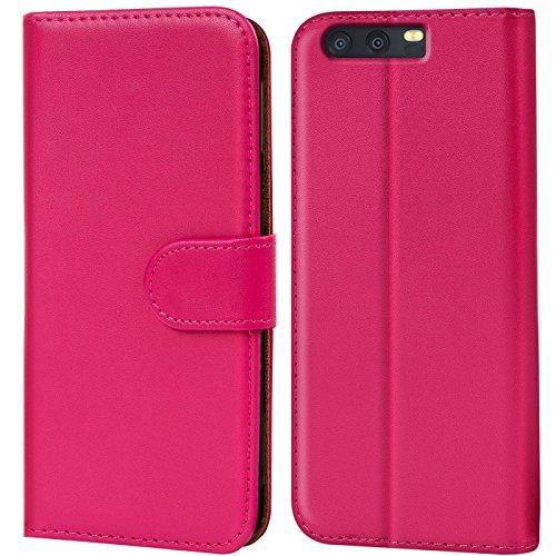 Verco P10 Hülle, Handyhülle für Huawei P10 Tasche PU Leder Flip Hülle Brieftasche - Pink