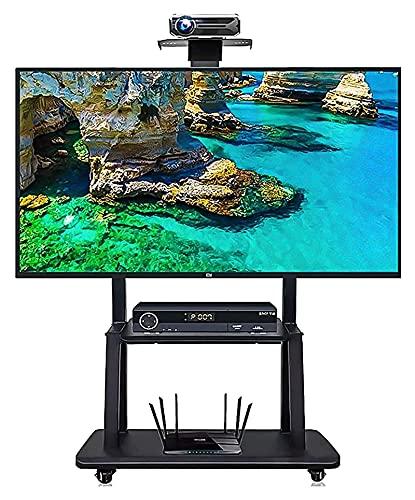 TabloKanvas Soporte de TV para el hogar, resistente, compatible con pantallas LCD LED de 43 a 75 pulgadas, carrito de TV con 2 estantes y ruedas (color negro)