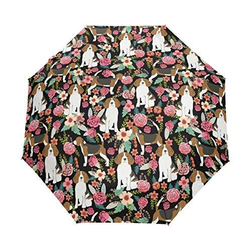 HLive Travel Umbrella Beagle Dog Pink Auto Open Compact Folding Sun & Rain Protection Umbrella with UV Protection Windproof