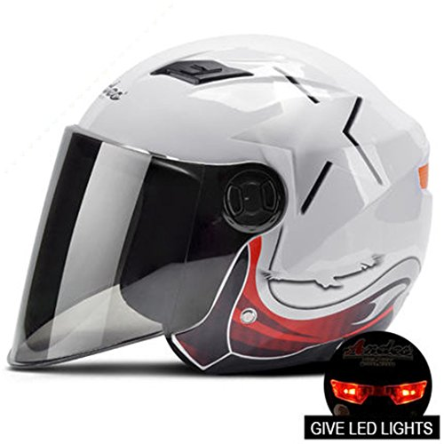 MARQUEND Casque Ouvert Casque Motocross Casque Motocross Casque Scooter Casque 3/4 Casques avec la Lumière LED White with LED 4