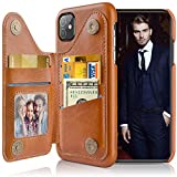 LOHASIC for iPhone 11 Wallet Case, 5 Card Holder Slot PU Leather Phone Cover, Classic Vintage Sleek Folio Portfolio Men Women, Flip Stand Magnet Pocket Compatible with iPhone 11 (2019) 6.1 Brown