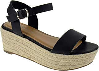 252460541635 Womens Casual Espadrilles Trim Rubber Sole Flatform Studded Wedge Buckle  Ankle Strap Open Toe Sandals